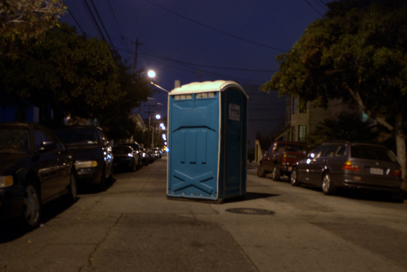 portapotty in the middle of the street