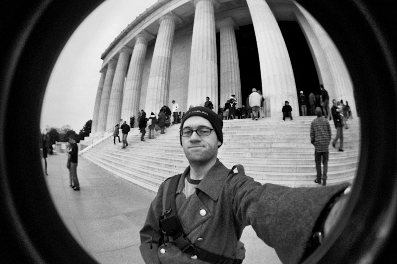 self portrait at lincoln memorial