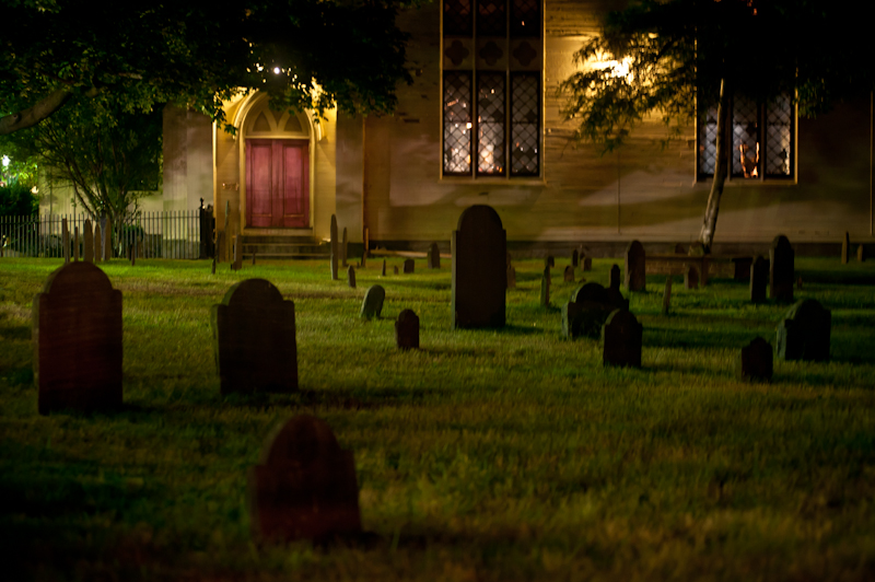 old burial ground at night