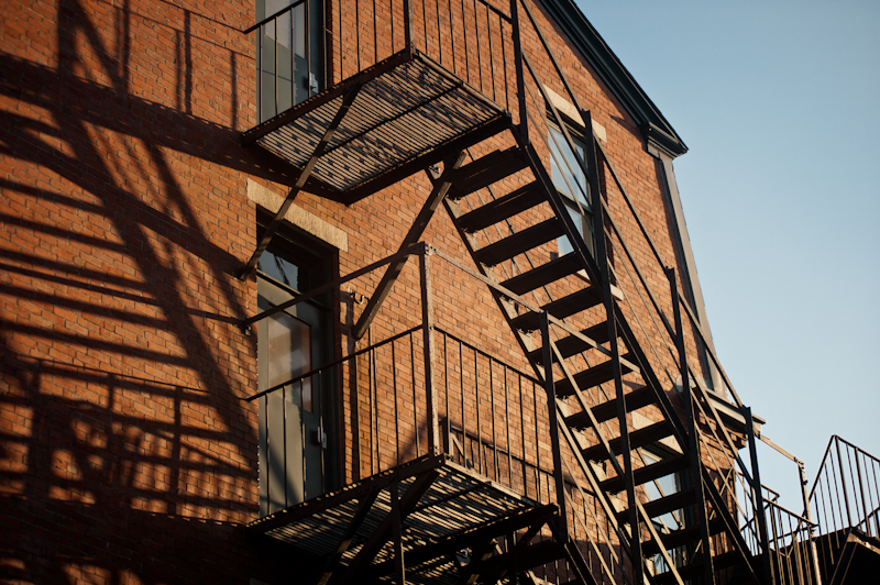 long shadows on fire escape