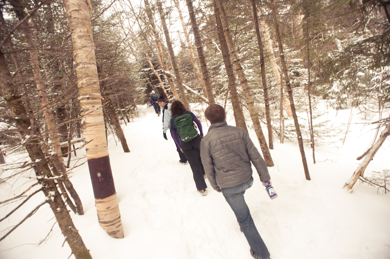 snow hiking in crawford notch