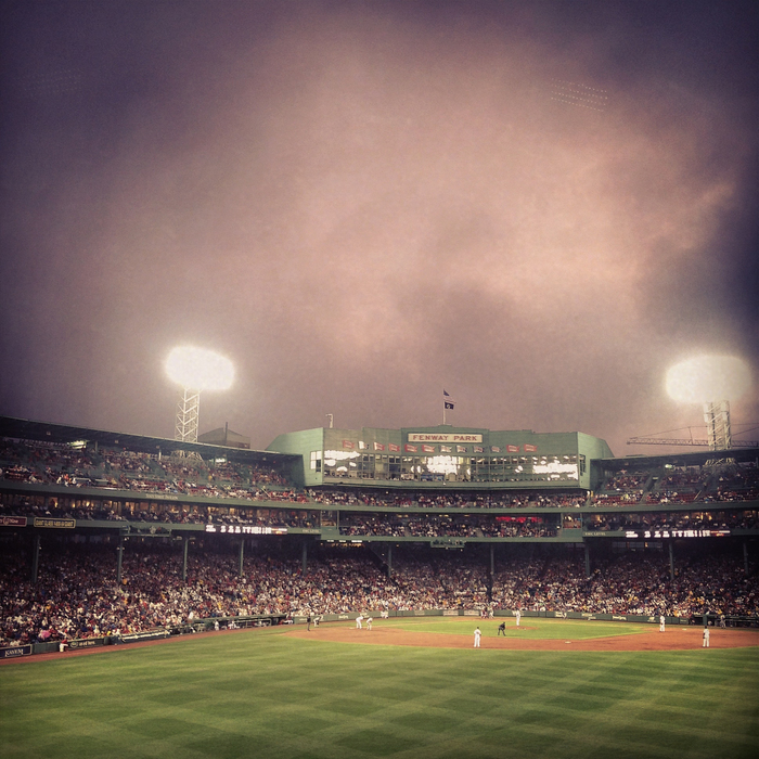 rainy night at fenway